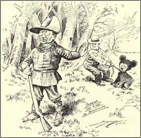 In 1902 while President Theodore Roosevelt was on a hunting trip in Mississippi, the presidential hunting party trailed and lassoed a lean, black bear, then tied it to a tree. The president was summoned, but when he arrived on the scene he refused to shoot the tied and exhausted bear, considering it to be unsportsmanlike. The following day, November 16, Clifford Barryman, Washington Post editorial cartoonist, immortalized the incident as part of a front-page cartoon montage.