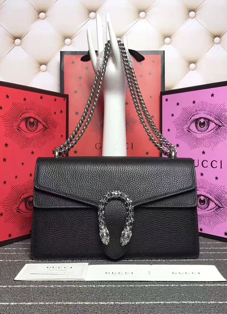 d77e4000baf Gucci Dionysus Black Leather Medium Shoulder Bag | Gift | Gucci ...