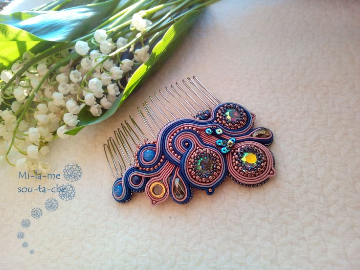 Soutache Hair comb - design by Magdalena Bielska, made by Milame Soutache