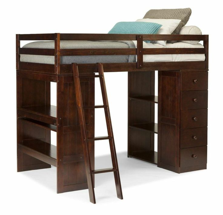 Twin Loft Bed & Desk & Storage Tower Brown Kids Bedroom Furniture Multi-function
