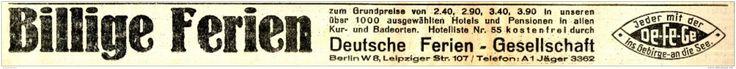 Original-Werbung/ Anzeige 1934 - DEUTSCHE FERIEN-GESELLSCHAFT DE-FE-GE - BERLIN…