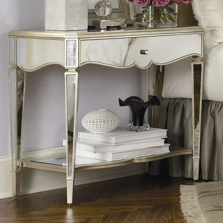 One Drawer Mirrored Nightstand Product Nightstand Construction Material Wood And Mirrored