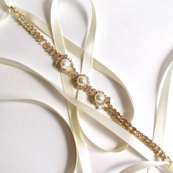 Gold Rhinestone Ribbon Bridal Headband  White or door GetNoticed, $26.00