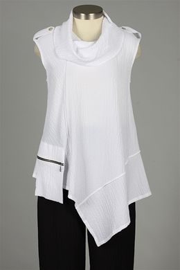 Sleeveless Zipper Pocket Top