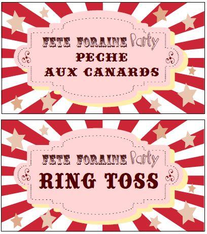 Etiquettes jeux fête foraine party