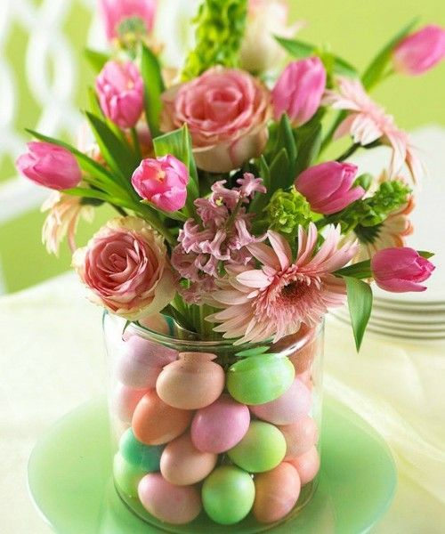 Easter Decor-in-pink-and-purple-glass