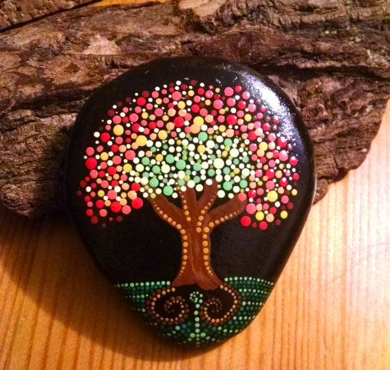 """Hand Painted Rock~ """"Fall Tree"""" Dot Art Tree _Home Decor _ Painted Stones_Gift ideas"""