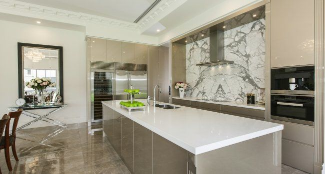 The stone splash back is a standout feature of this home...
