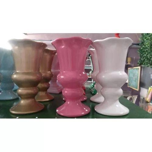 Vaso Cerâmica Esmaltada 20 Cm  Decoração Arranjo - R$ 30,00