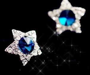 Omh 6 пара кремовый 24% = $ 0.9 / pair девочка верхний класс кристалл Star серьги-гвоздики нет аллергии EH321