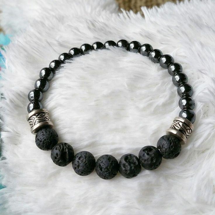 Aromatherapy Bracelet lava stone & hematite natural stone yoga zen healing bracelet available at http://bellazenbracelets.etsy.com