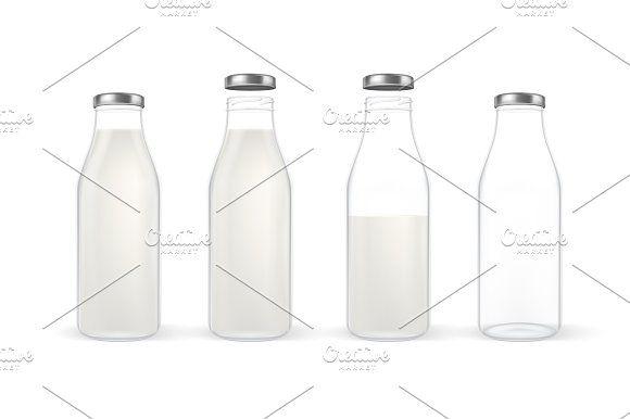 Milk bottle. Vector set.  by gomolach on @creativemarket