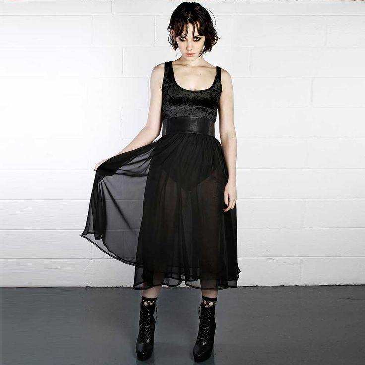 Disturbia Black Swan midi hoge taille rok zwart - Glamrock Gothic | At