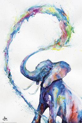 Marc Allante - Elephant - Poster - Hochformat - 61 x 91,5 cm Damit du dich in deinem Heim noch wohler fühlen kannst, bringen wir mit dem Poster Elephant ein bisschen Farbe in deine Bude. Das Poster stammt aus der begnadeten Hand des Künstlers Marc Allante, der all sein Talent in das tierische Motiv gesteckt hat.