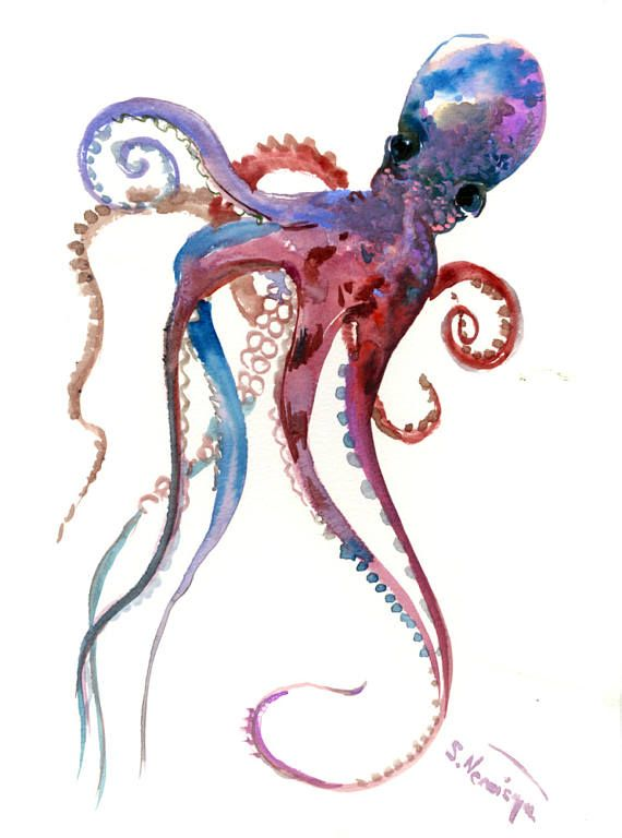 Blue and purple  Octopus, original one of  a kind watercolor painting, nautical sea world animals