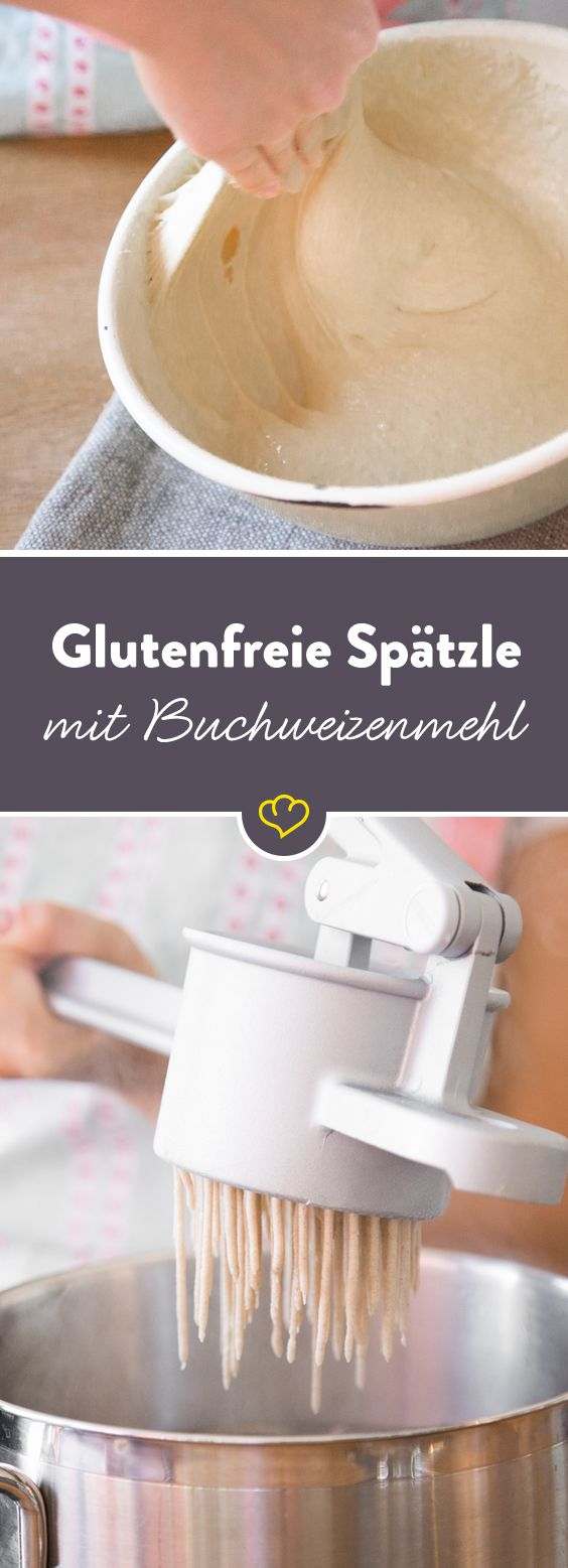 Wie schwäbische Spätzle auch glutenfrei gelingen? Im klassischen Spätzleteig mit Eiern und Milch einfach mal das Weizenmehl durch Buchweizenmehl ersetzen.