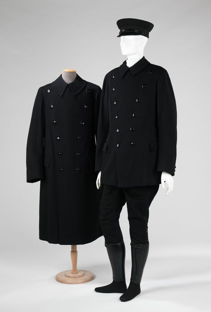 This handsome chauffeur's uniform and its coordinate pieces are emblematic of the life of high society in the late 1920s when wealthy families had private staff that included smartly dressed chauffeurs, maids and cooks
