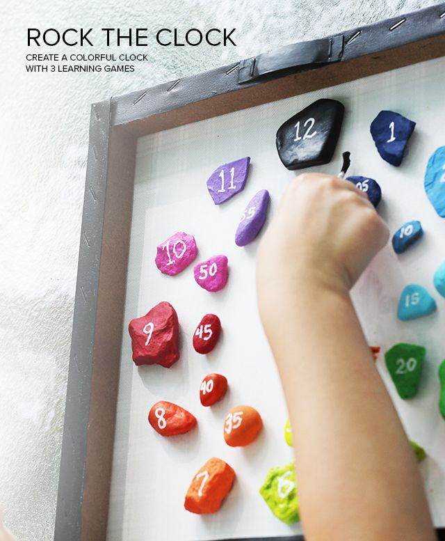 "With WONDERFUL ideas and crafts such as this Rock Clock, why shouldn't LEARNING be fun? My youngest is currently learning to read the time and this is rock craft idea is simple lovely! Love that it has both the ""on…"