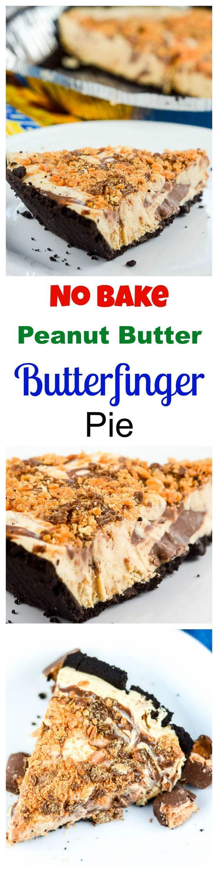 This No Bake Peanut Butter Butterfinger Pie, with a Nutella chocolate hazelnut spread swirl, is an ultra rich and decadent make-ahead frozen chocolate candy pie that requires no baking. ~ http://FlavorMosaic.com