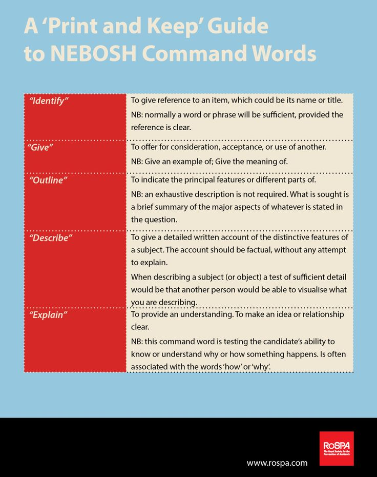 9 best nebosh images on pinterest exam papers past papers and how to pass nebosh exams new command word guide fandeluxe Choice Image