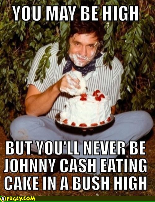Johnny cash eating cake in a bush high.