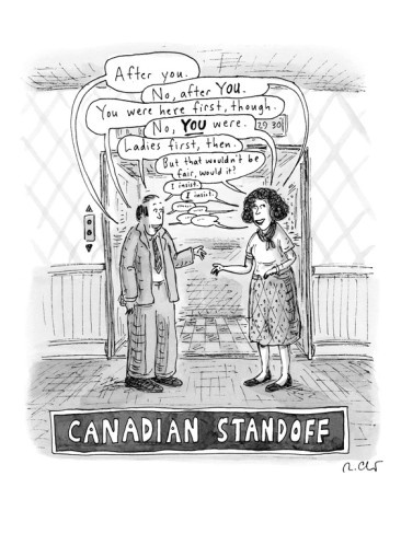 A Canadian stand-off satirizes the politeness of Canadians, as a man and … - New Yorker Cartoon Premium Giclee Print