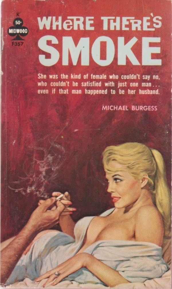 Pulp fiction cover, Where There's Smoke by Michael Burgess
