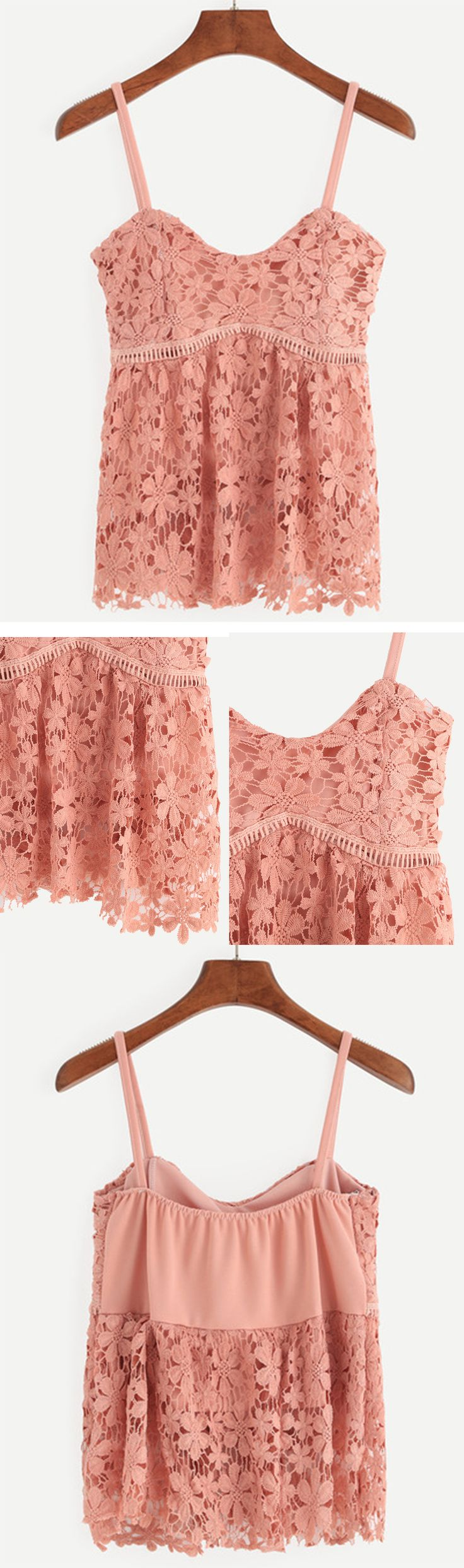 Pink Hollow Out Flower Crochet Cami Top