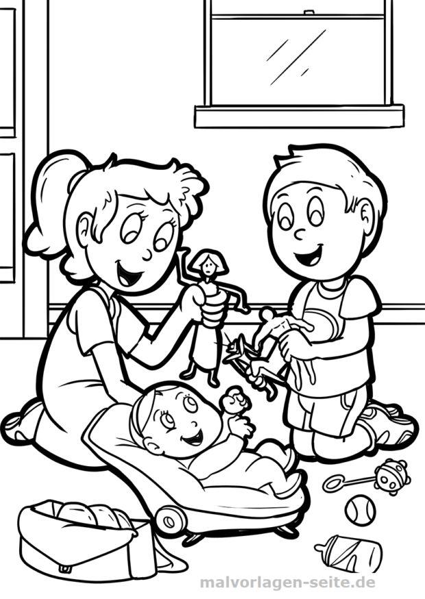 Malvorlage Geschwister mit Baby Malvorlagen