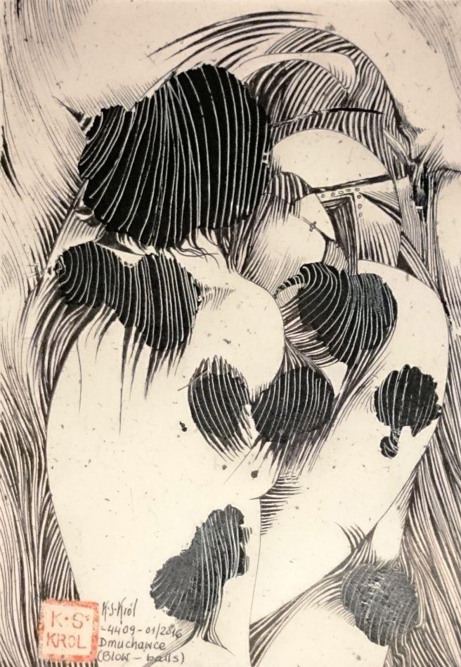 K.S.Król, 4409 Dwuchawce I Blow-bells, ink on paper, 20x14 cm, 2016