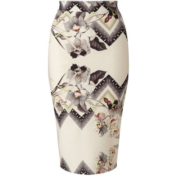 Miss Selfridge Nude Floral Print Pencil Skirt ($12) ❤ liked on Polyvore featuring skirts, assorted, miss selfridge, pencil skirt, floral skirt, flower print skirt and floral-print pencil skirts