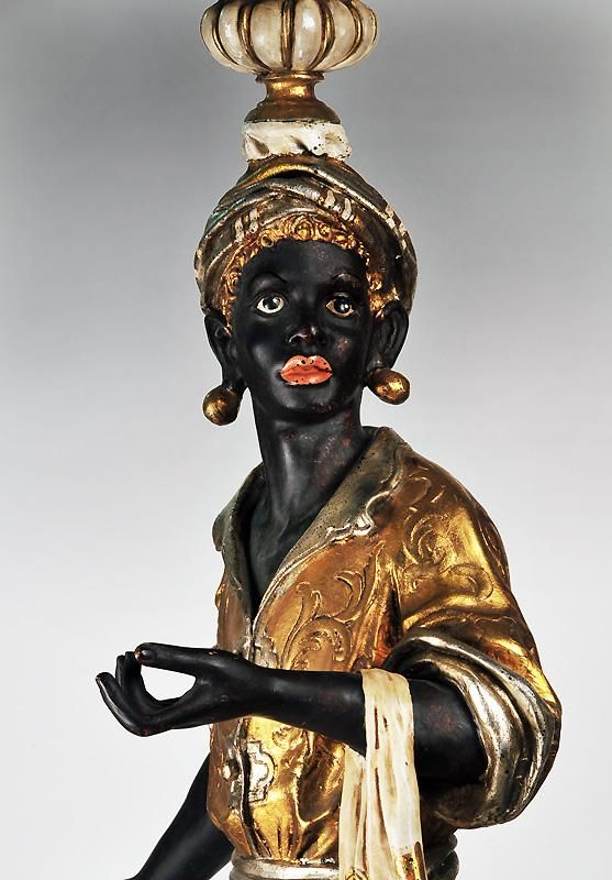 close-up of the beautiful face-Hand Carved Polychromed Italian Blackamoor Torchieres from piatik on Ruby Lane