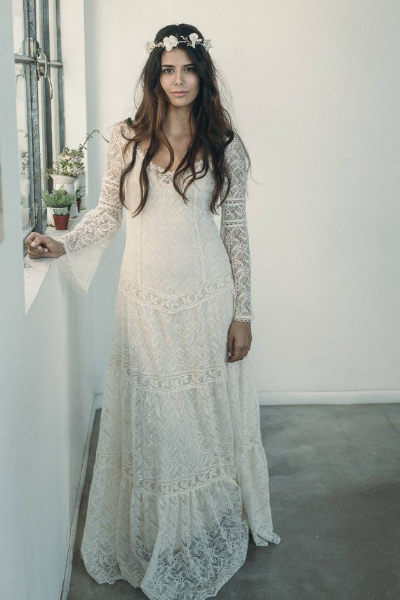 Wedding Dresses Vintage Bohemian Hippie Long Sleeve Lace Wedding