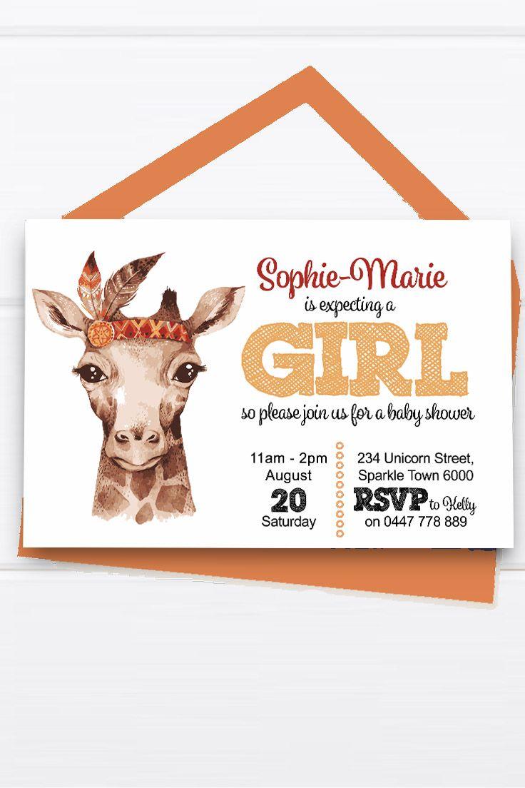 Baby Shower Invitation Customise Download Printable Orange Red Yellow Giraffe Safari Animal Watercolor Girl or Boy Unisex Cute