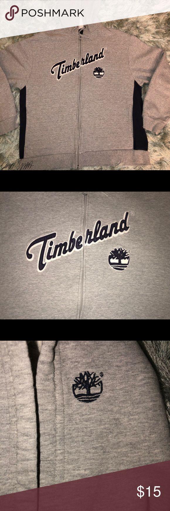 Grey Timberland Zip Up Sweatshirt Large Timberland Grey Blue and White Zip Up Hoodie  (GREAT CONDITION) Timberland Tops Sweatshirts & Hoodies
