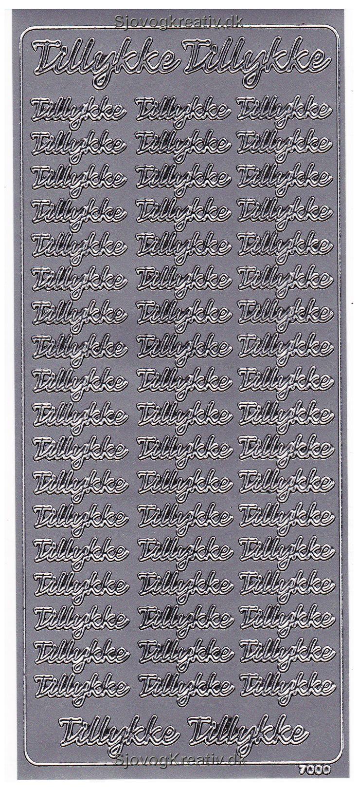 Sticker med sølv farvet Tillykke klistermærker til kort og og gaver fra sjovogkreativ.dk