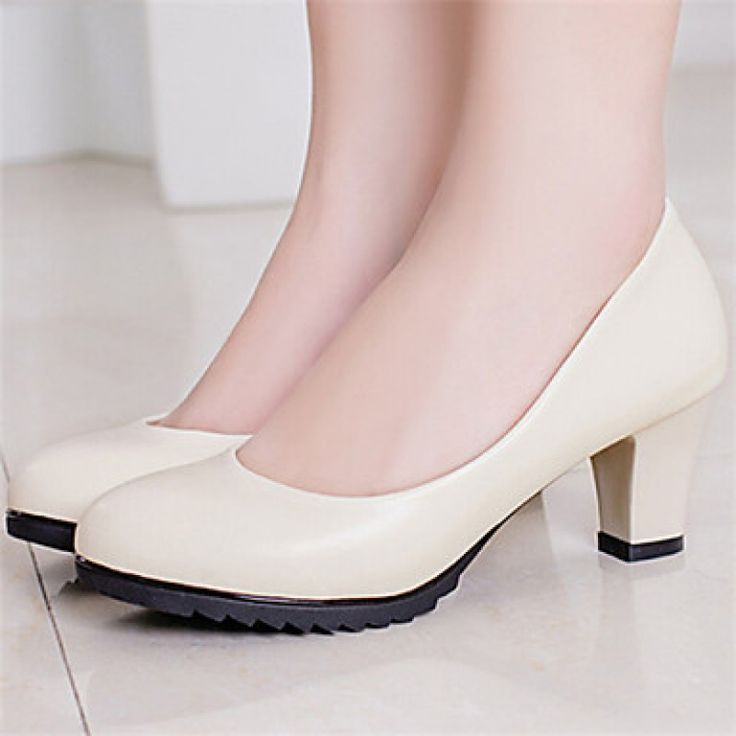 Women's Shoes Nz Chunky Heel Pointed Toe Pumps/Dress Black/White/Beige only at NZ$40