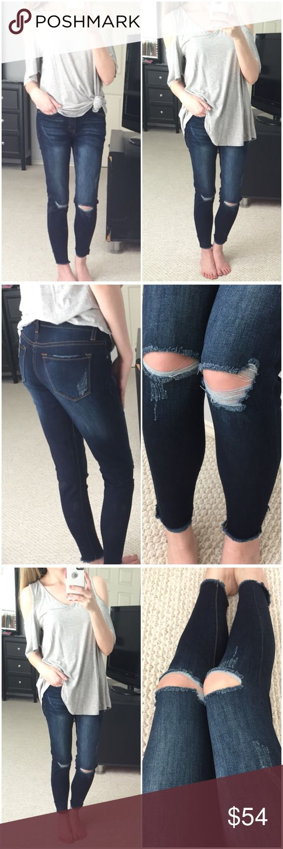 """Dark Wash Slit Knee Skinnies w/ Raw Hem Gorgeous and so stretchy! Dark wash denim with slots on the knees and raw hems on legs. So comfortable with high waist rise. Great color for dressing up your denim! May be able to get other sizes! Just ask 👍 75% cotton 20% polyester 3% viscose 2% spandex. Modeling 1/24 (I'm a smaller 25. Also very comfortable in 3/25.) Measurements as follows: Waist: (1/24) 13"""" (3/25) 13.5"""" (5/26) 14"""" (7/27) 14.5"""" Hips: (1/24) 15.5"""" (3/25) 16"""" (5/26) 16.5"""" (7/27) 17""""…"""