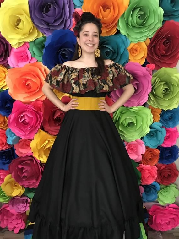 Mexican Blouse woman/'s one size Color Black Frida style Mexican hobo hippie flower coco theme party day of the dead Blouse ONLY 5 de Mayo