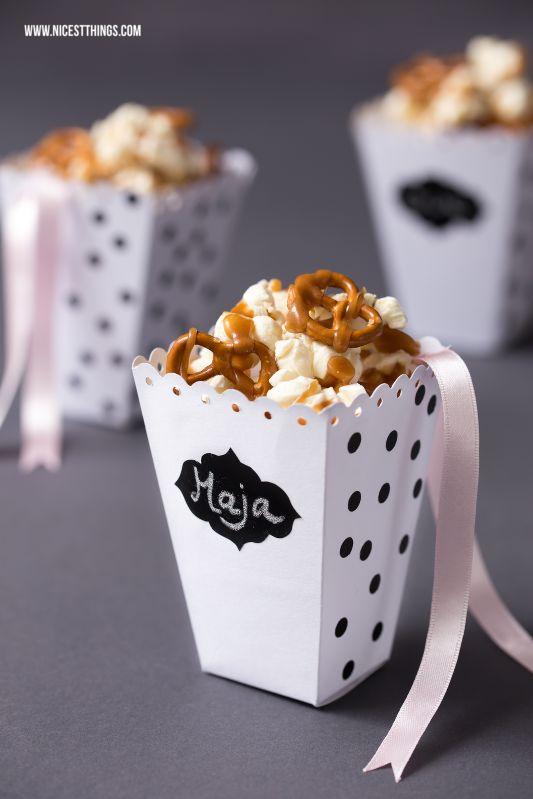 DIY Salted Caramel Popcorn + Popcorn Box Template