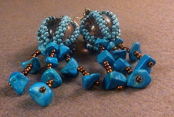 Handmade beads embroidery earrings    blue by IzabelaCichocka