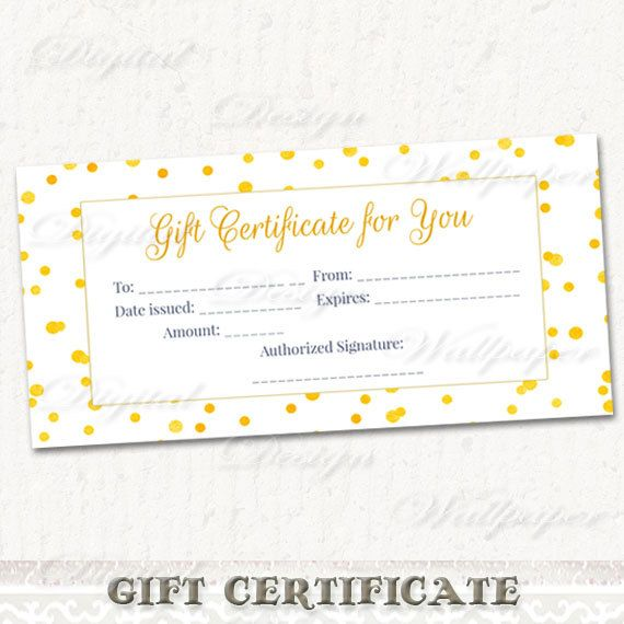 Printable Gift CertificateGold Confetti Gift by DigitalDesignPaper