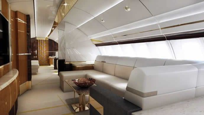 custom 747 interiors | ... private Boeing 747-8 with interiors matching that of a mega-yacht