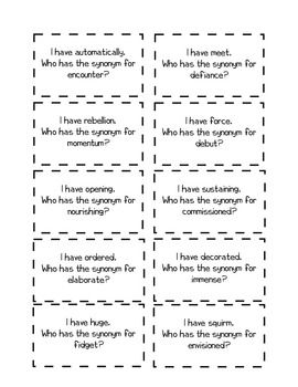 """Synonym Activity """"I Have...Who Has...?"""" for 5th and 6th grade language arts."""