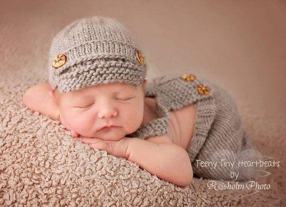 Image of handknit baby overalls and newsboy hat set newborn baby boy photo props