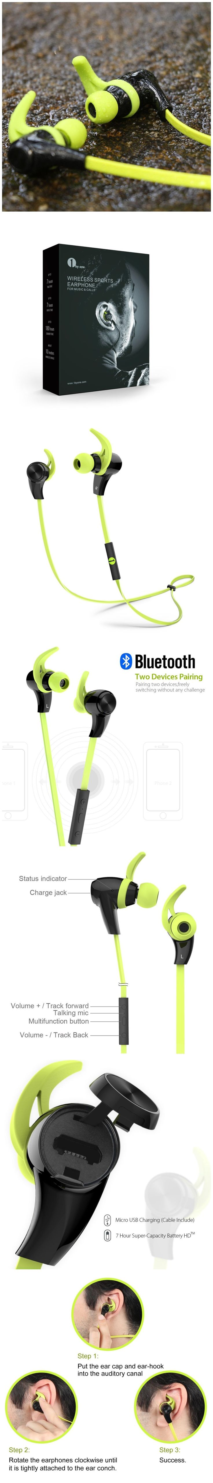 Only $26.96,1byone Bluetooth 4.1 Wireless In-Ear Headphones, Sports Earphones with HD Stereo Sound & Modern, Sweat-Proof and Ergonomic Design, Black & Green