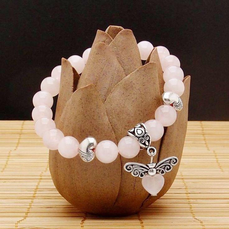 Rose Quartz stretch bracelet Heart Pendulum butterfly 7 inches RQ-09 #Stretch