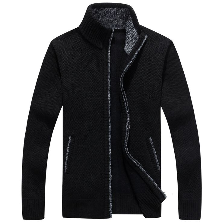 New Spring Men Sweaters Casual Slim Fit Pull Homme Casual Slim Fit Mens Zipper Sweater Solid Color Pullover Cardigan Masculino