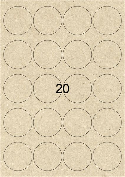 Etiketten - 60 Kraftpapier Etiketten 48 mm rund braun  Mit diesen A4 Kraftpapier Etiketten könnt Ihr Aufkleber und Sticker im rustikalen Design selbst gestalten und drucken z. B. Weinetiketten, Hochzeitsetiketten, Weihnachtsetiketten.  Die A4-Etiketten sind geeignet für Laser Drucker, Inkjet Drucker und Kopierer, als auch zur handschriftlichen Beschriftung. 20 bedruckbare Kraftpapier Aufkleber aus geripptem Kraftpapier mit stark haftendem Kleber pro Blatt 1 Set besteht aus 3 Bogen