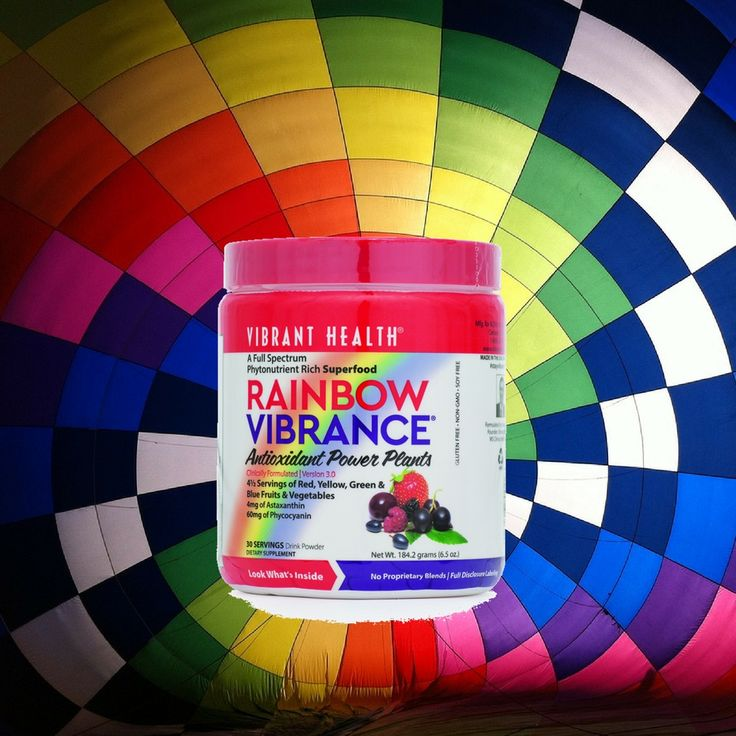 Ingredients in Rainbow Vibrance include some of the best antioxidants found in food around the world! The powder is made up of ingredients such as cranberry, raspberry, cherry, pomegranate, carrot, papaya, acai, blueberry, and blackberry extracts. The supplement also contains Brussels sprouts, cabbage, collard greens, green beans, turmeric and kale. No other ingredients are added – no sweeteners, preservatives or pesky additives that many brands contain.